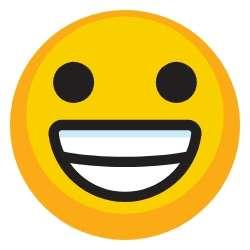 Grin emoji next to success story testimonial