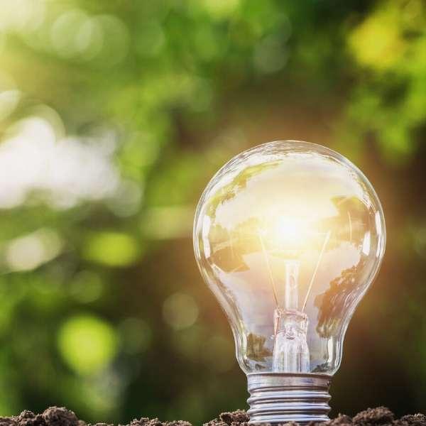 Bright lightbulb in earth