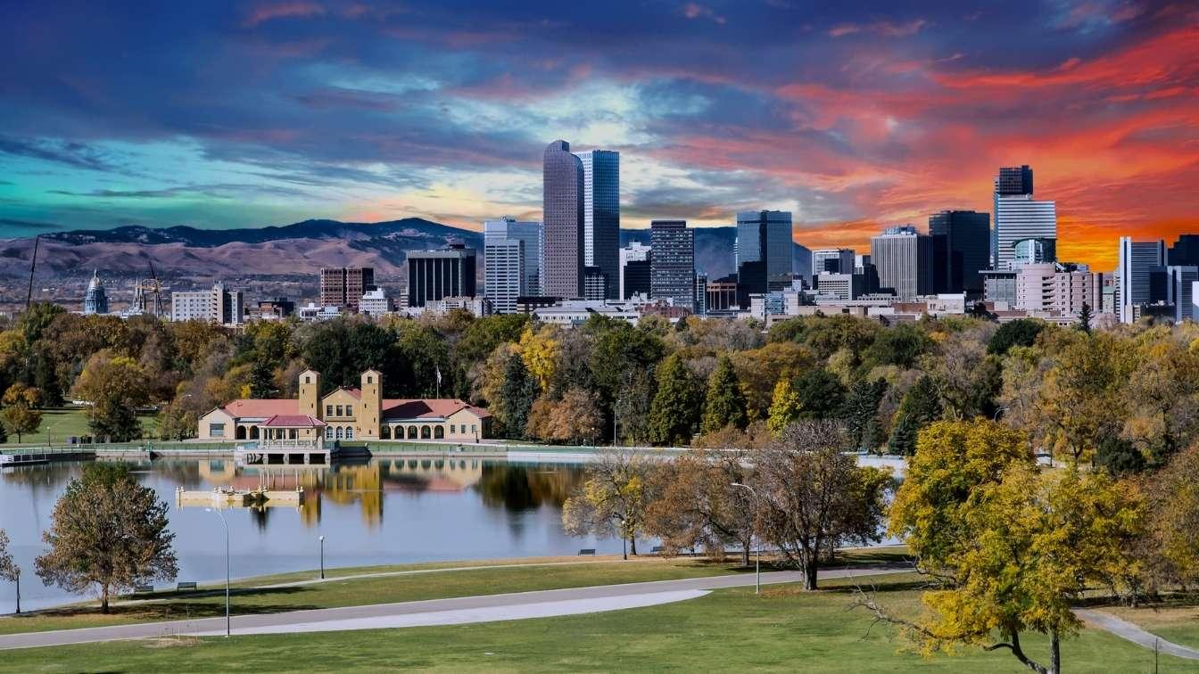 Denver colorado city skyline