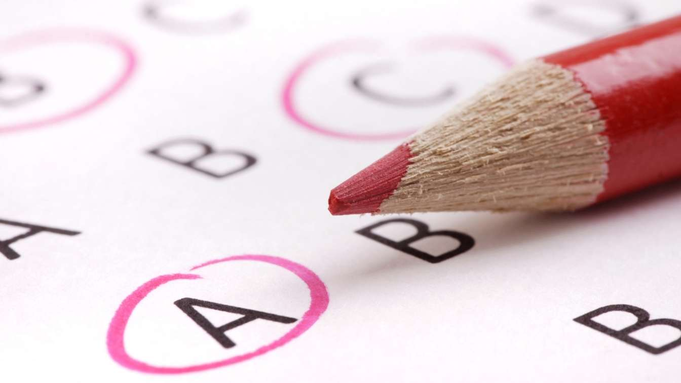 Pencil on multiple choice quiz answer page