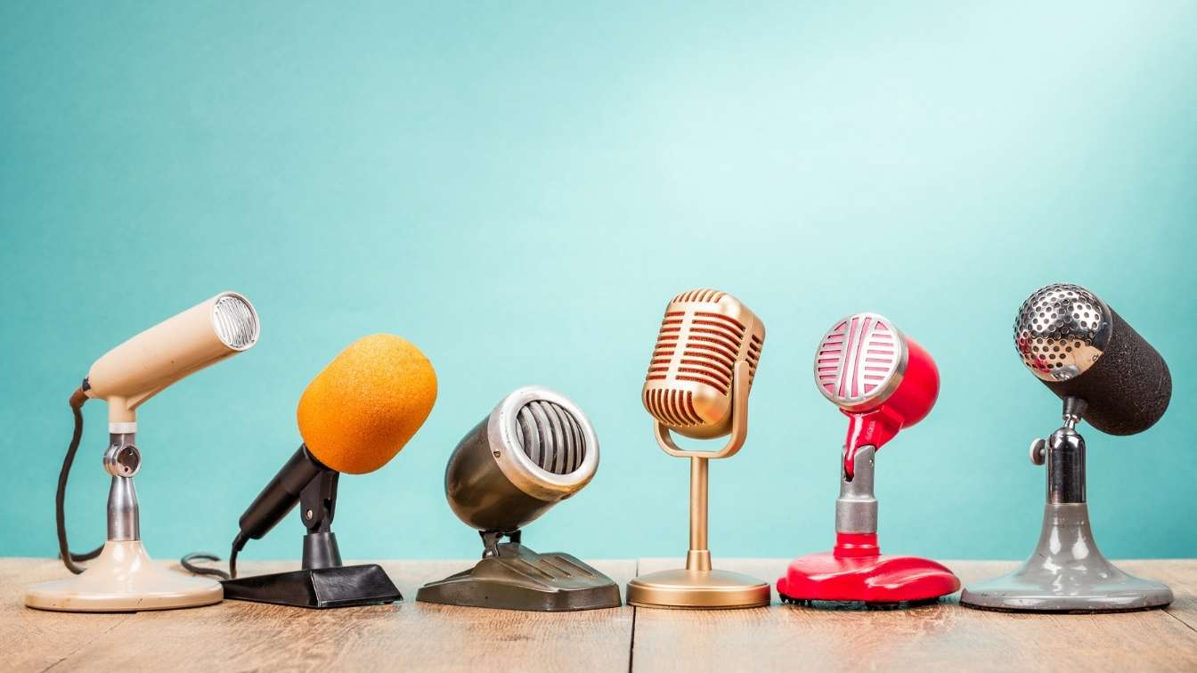 6 different styles of microphones in a row